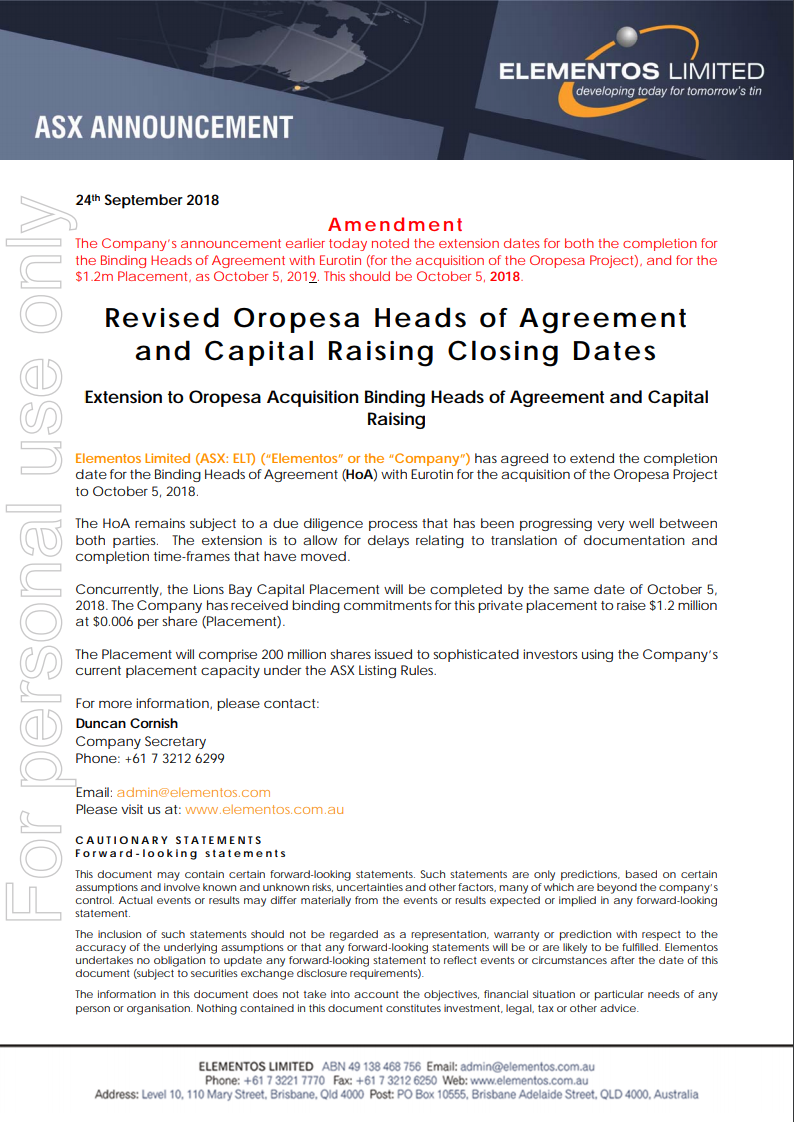 Oropesa heads of agreement update Elementos Limited ASX