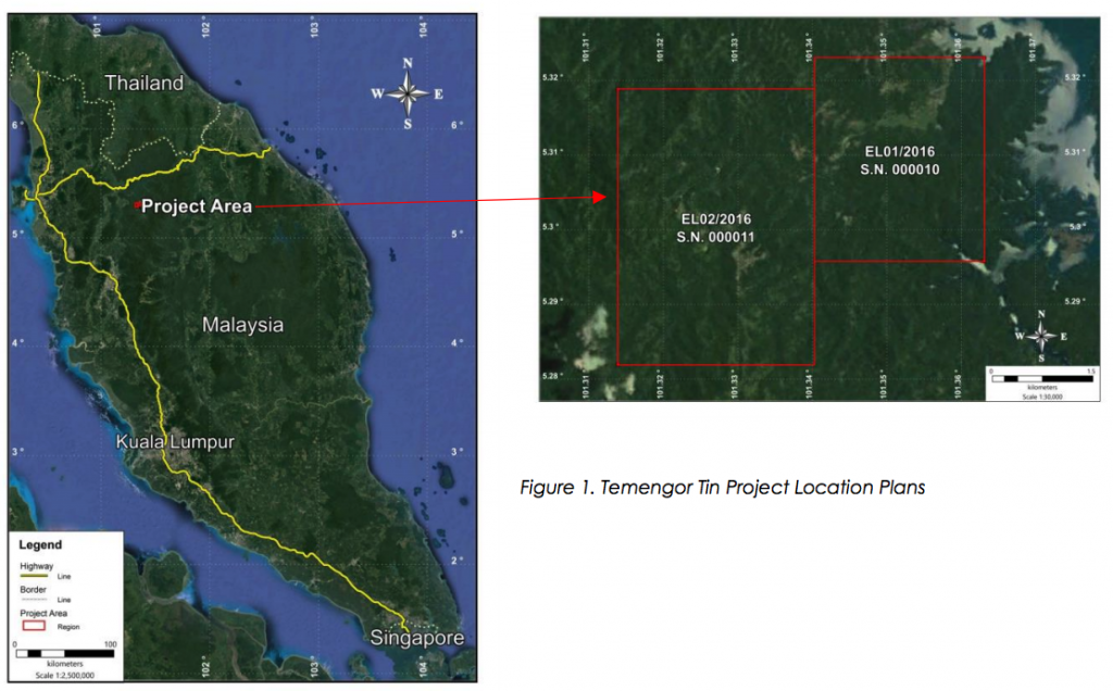 Location of the Temengor Tin Project Mine Site in Malaysia Elementos Limited